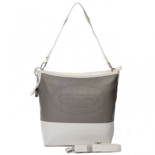 Coach Hamptons Medium Grey Shoulder Bags AYM