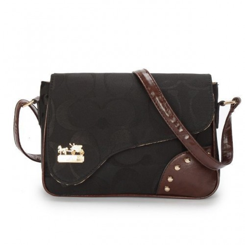 Coach Stud In Signature Medium Black Crossbody Bags AYU