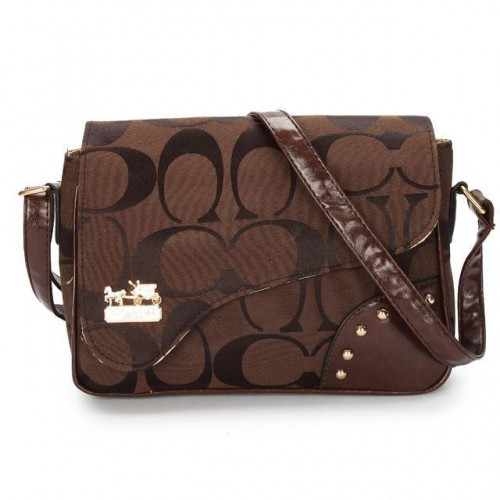 Coach Stud In Signature Medium Coffee Crossbody Bags AYX