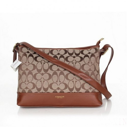 Coach Convertible Hippie In Signature Medium Brown Crossbody Bag