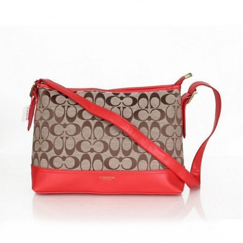 Coach Convertible Hippie In Signature Medium Red Crossbody Bags
