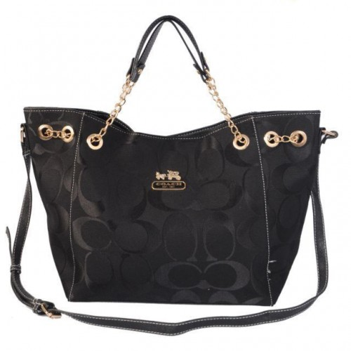 Coach Chelsea In Signature Medium Black Totes AZB