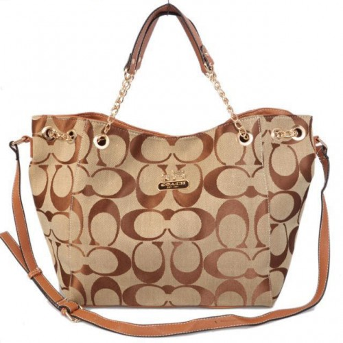 Coach Chelsea In Signature Medium Khaki Totes AZC