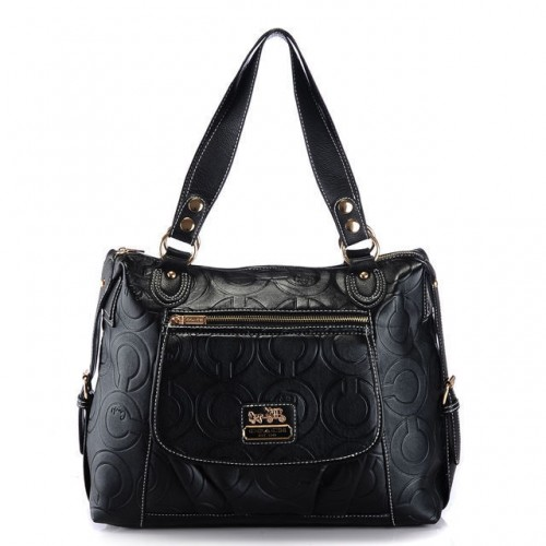 Coach In Printed Signature Large Black Totes AZN