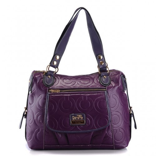 Coach In Printed Signature Large Purple Totes AZP