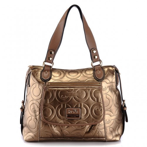 Coach In Printed Signature Large Gold Totes AZQ