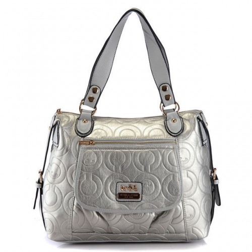 Coach In Printed Signature Large Silver Totes AZR