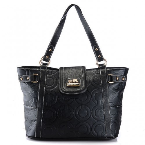 Coach In Printed Signature Large Black Totes AZS