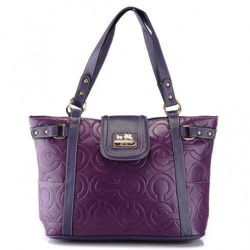 Coach In Printed Signature Large Purple Totes AZU