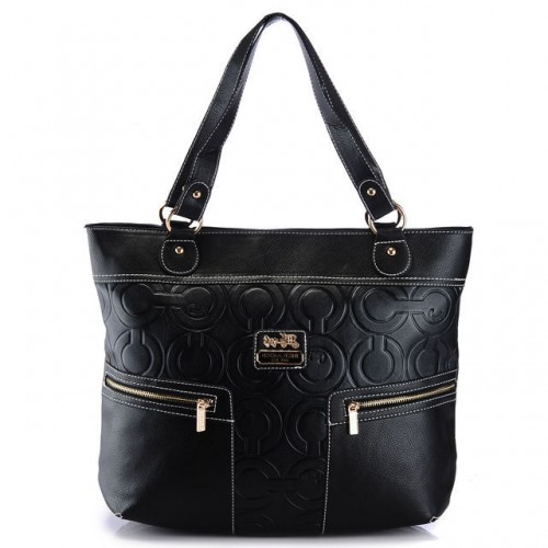 Coach In Printed Signature Large Black Totes AZX