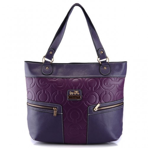 Coach In Printed Signature Large Purple Totes AZZ
