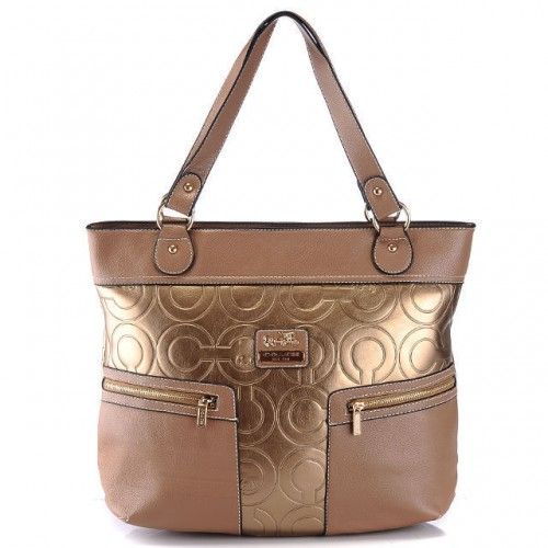 Coach In Printed Signature Large Gold Totes BAA