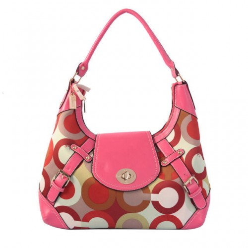Coach Turnlock Large Pink Hobo BAF