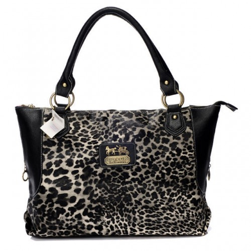 Coach Leopard Fur Large Black Totes BAH
