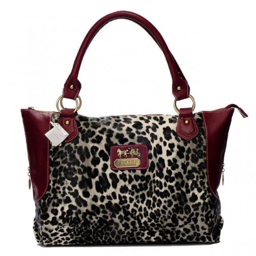 Coach Leopard Fur Large Red Totes BAI
