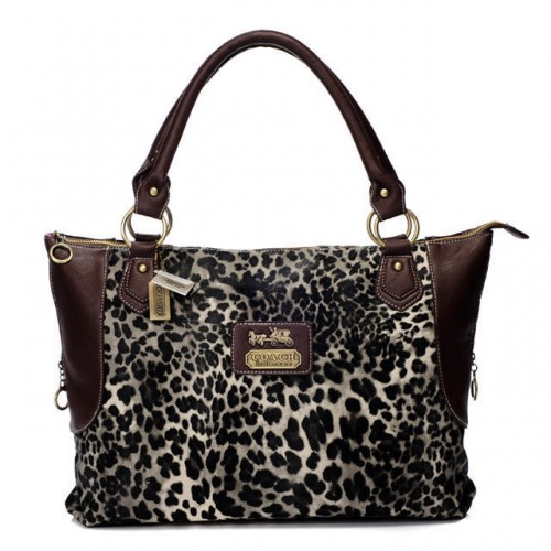 Coach Leopard Fur Large Coffee Totes BAJ