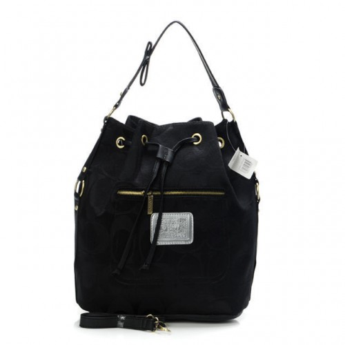 Coach Drawstring Medium Black Shoulder Bags BAT