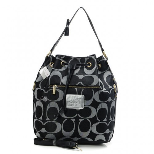 Coach Drawstring Medium Black Shoulder Bags BAU