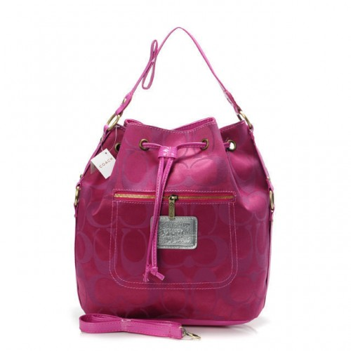 Coach Drawstring Medium Fuchsia Shoulder Bags BAV