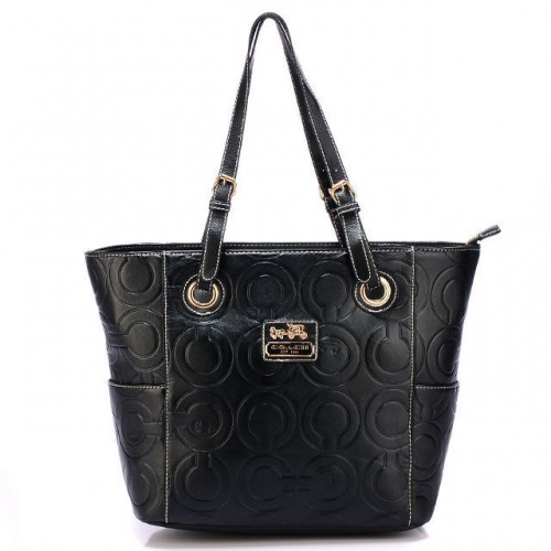Coach In Printed Signature Medium Black Totes BBH