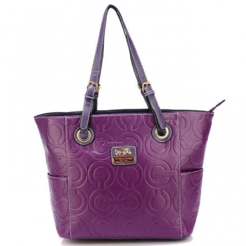 Coach In Printed Signature Medium Purple Totes BBI