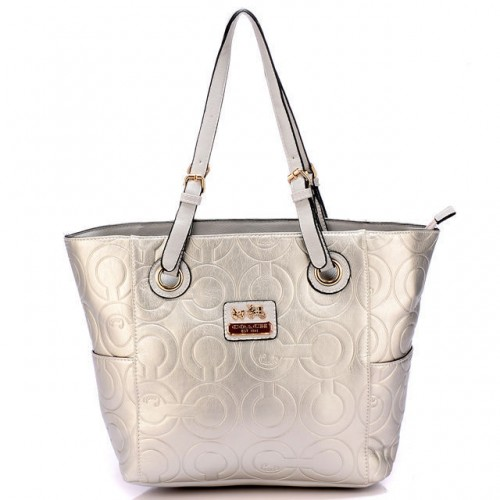 Coach In Printed Signature Medium White Totes BBJ