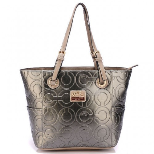 Coach In Printed Signature Medium Silver Totes BBK