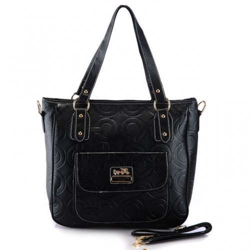 Coach In Printed Signature Small Black Totes BBM