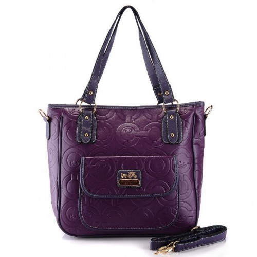 Coach In Printed Signature Small Purple Totes BBN