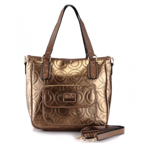 Coach In Printed Signature Small Gold Totes BBO