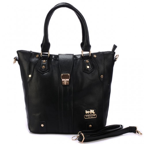 Coach Turnlock Medium Black Satchels BBR