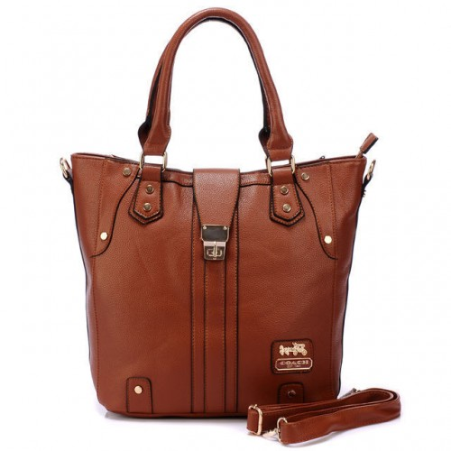 Coach Turnlock Medium Brown Satchels BBT