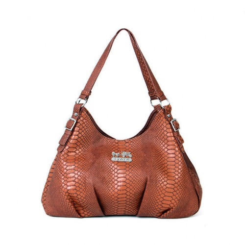 Coach Embossed Logo Medium Brown Shoulder Bags BCF