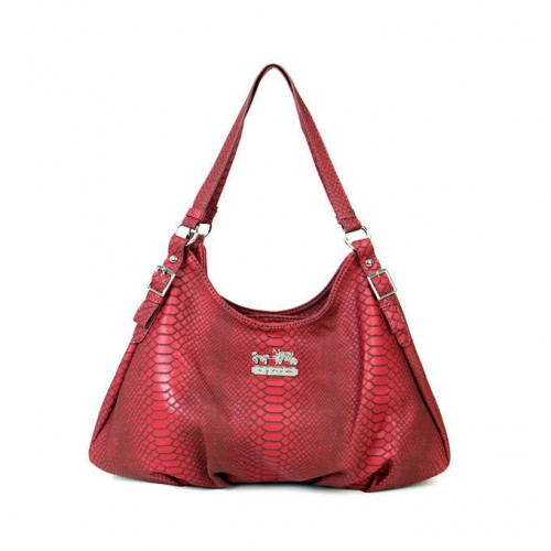 Coach Embossed Logo Medium Red Shoulder Bags BCG