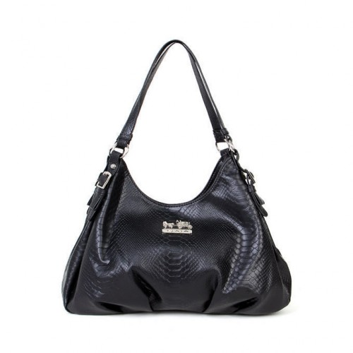 Coach Embossed Logo Medium Black Shoulder Bags BCH