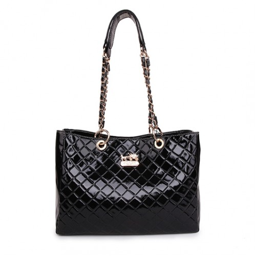 Coach Rhombic Medium Black Shoulder Bags BCK