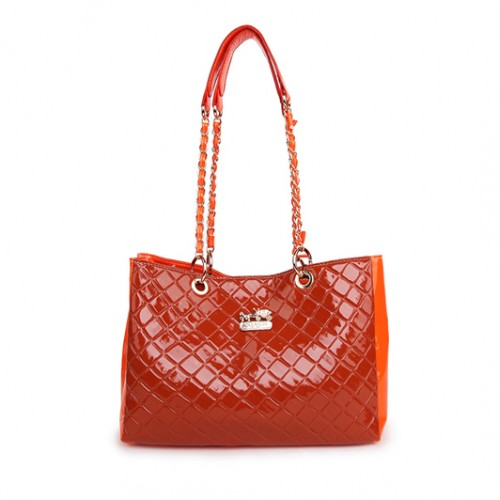 Coach Rhombic Medium Orange Shoulder Bags BCL