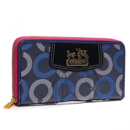 Coach Waverly In Signature Large Blue Wallets BDA