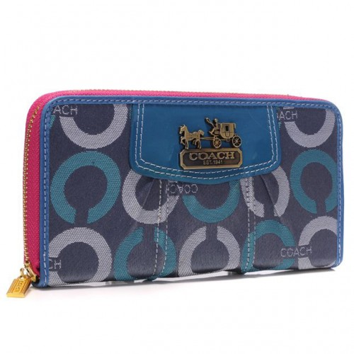Coach Waverly In Signature Large Blue Wallets BDB
