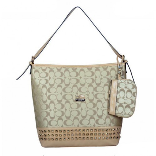 Coach Legacy Duffle In Stud Signature Medium Khaki Shoulder Bags