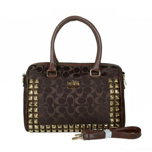 Coach Legacy Haley In Stud Signature Medium Coffee Satchels BDI