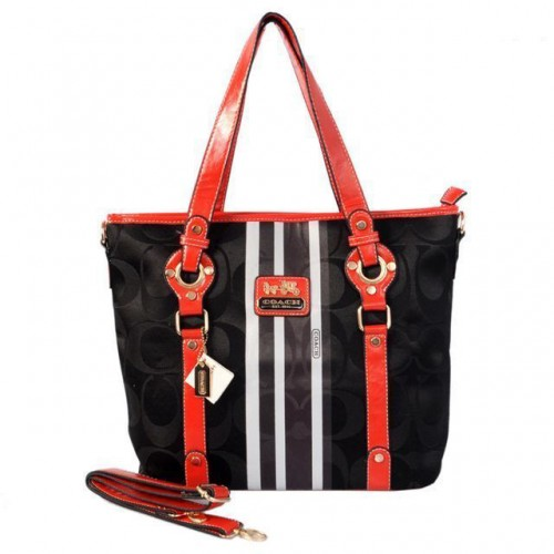 Coach Logo In Signature Medium Black Totes BER