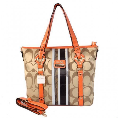 Coach Logo In Signature Medium Khaki Totes BEV