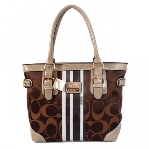 Coach In Signature Medium Coffee Totes BEX