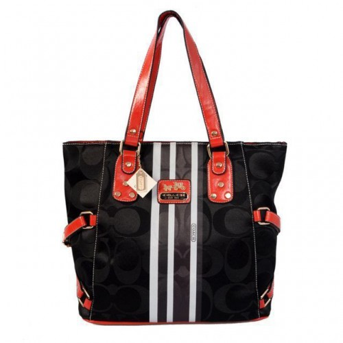 Coach In Signature Logo Medium Black Totes BFB