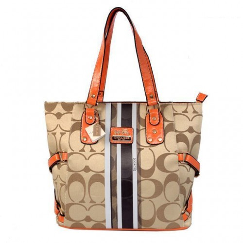 Coach In Signature Logo Medium Khaki Totes BFF