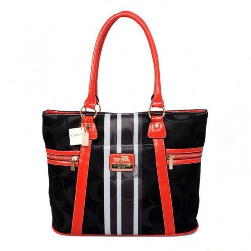 Coach Zip In Signature Medium Black Totes BFG
