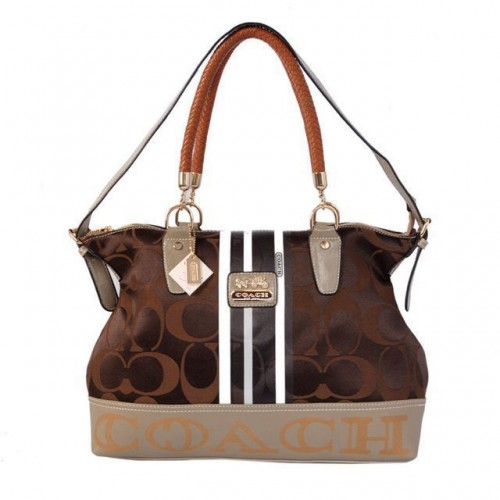 Coach Braided In Signature Large Coffee Totes BFR