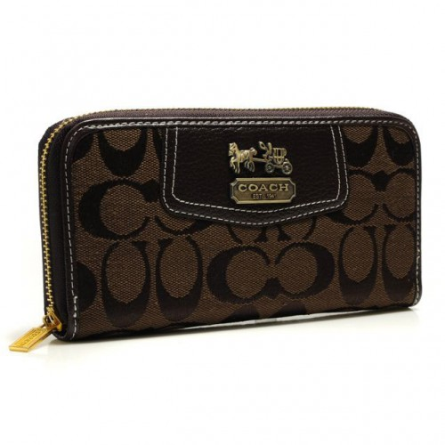 Coach Logo In Signature Large Coffee Wallets BFZ