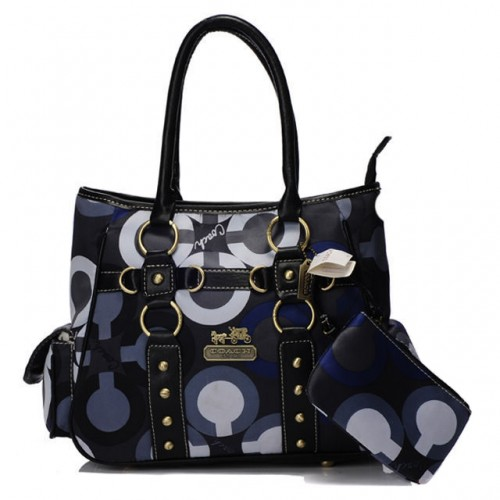 Coach Stud In Signature Small Blue Totes BIV